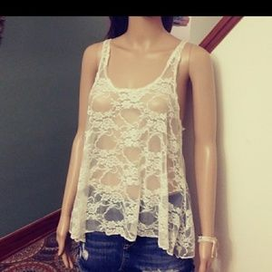 Off white lace top. By concert by Clare. Sz- M